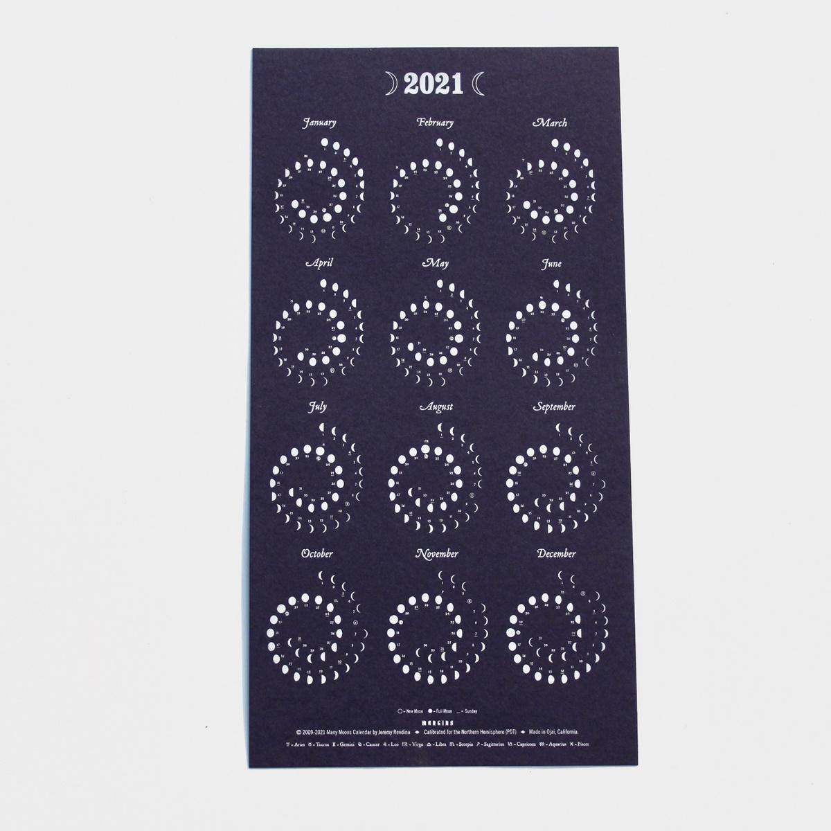 Margins Imprint 2021 Nightsky Moon Phase Calendar - Framed