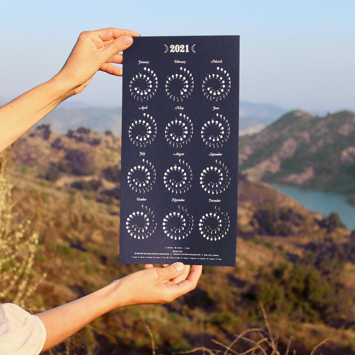 Margins Imprint 2021 Nightsky Moon phase Calendar (unframed)