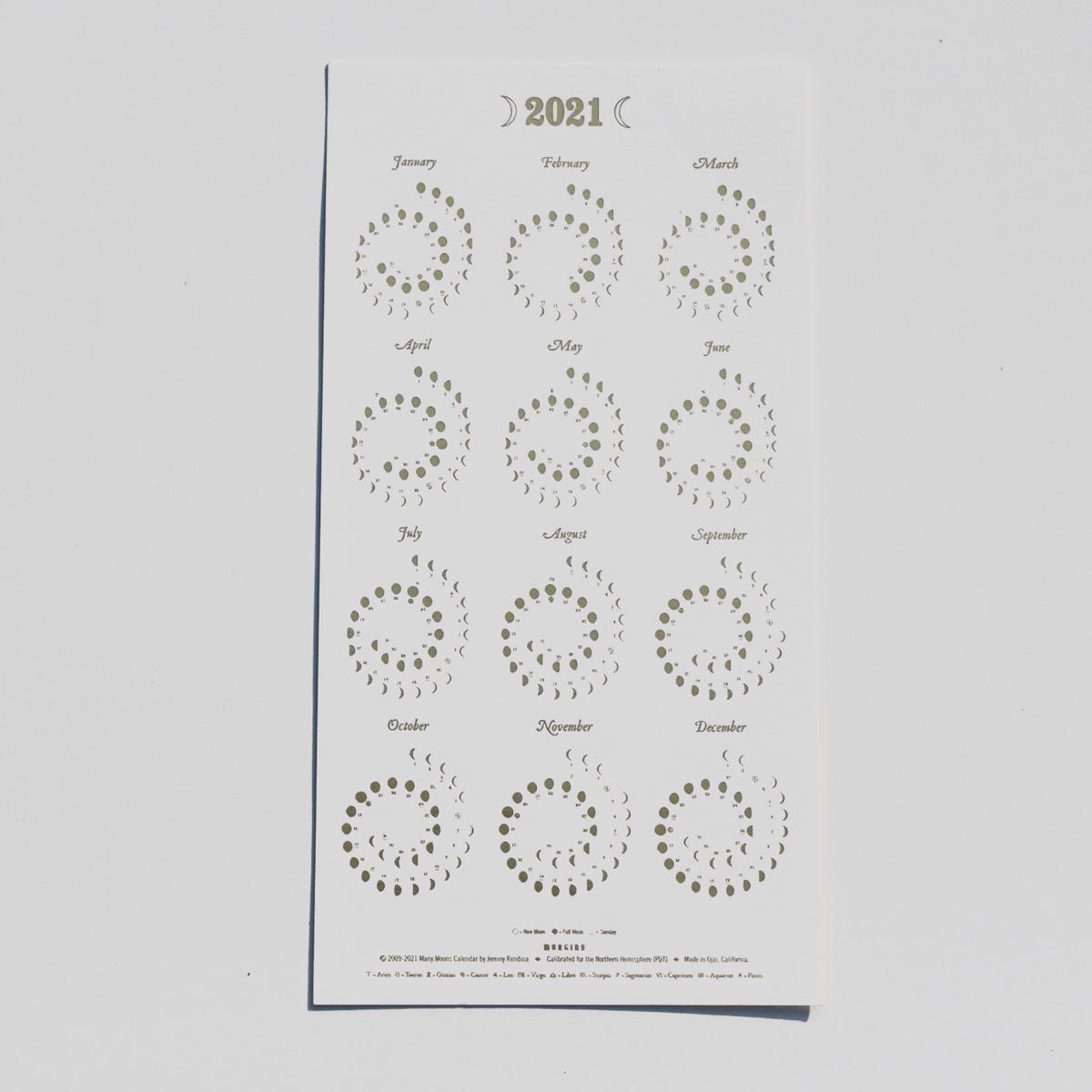 Margins Imprint 2021 Gold on White Moon Phase Calendar - Framed