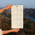 Margins Imprint 2021 Gold on White Moon phase Calendar (unframed)
