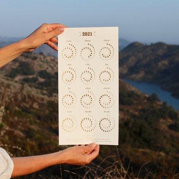 Margins Imprint - MAR 2021 Gold on White Moon phase Calendar (unframed)