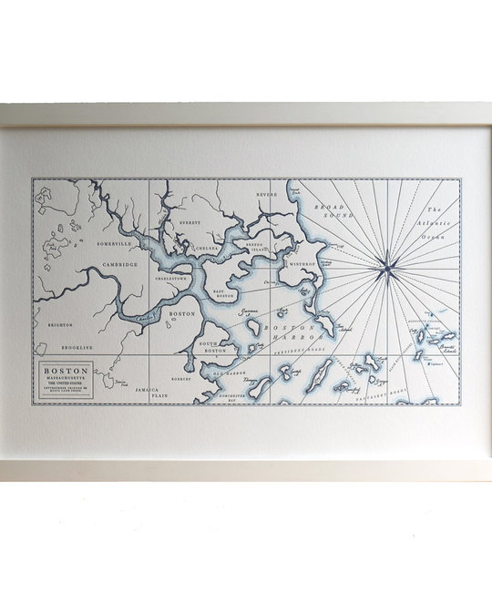 Quail Lane Press - QLP Boston Harbor Map, 12 x 16, Letterpress Print, Unframed
