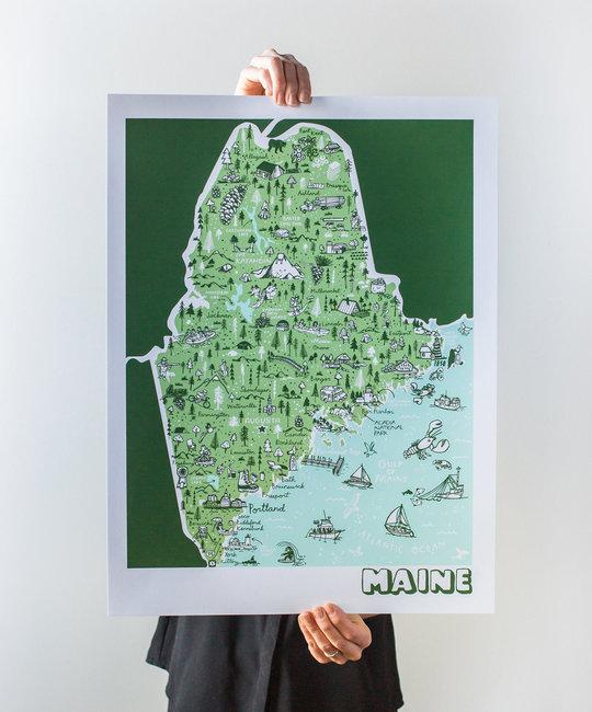 Brainstorm Print and Design - BS Brainstorm - Maine Map, 11 x 14 inch