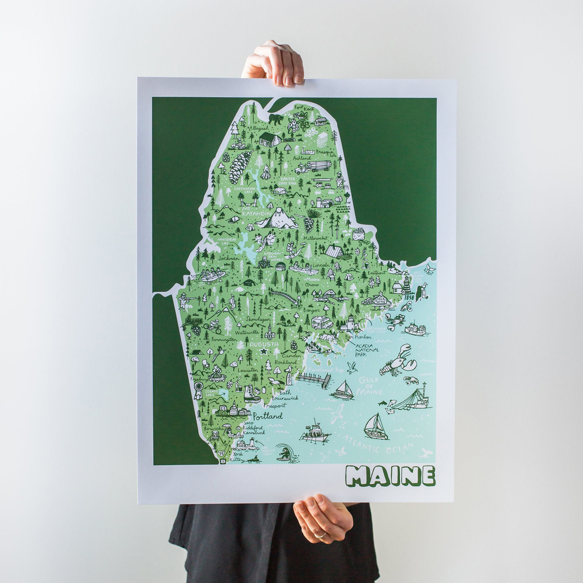 Brainstorm Print and Design - BS Brainstorm - Maine Map, 11 x 14 inch