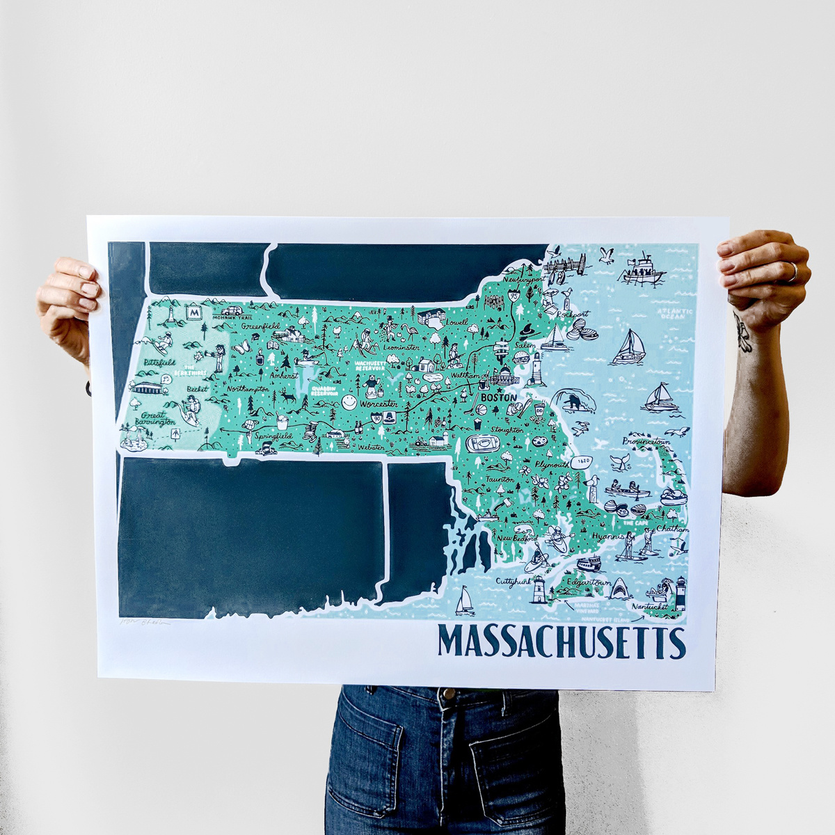 Brainstorm Print and Design - BS Brainstorm - Massachusetts Map, 11 x 14 inch Print