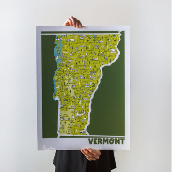 Brainstorm Print and Design - BS Brainstorm - Vermont Map, 11 x 14 inch