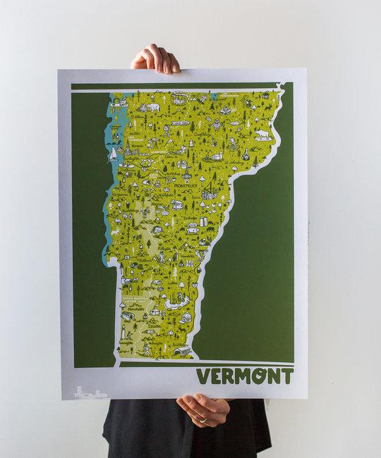 Brainstorm Print and Design - BS Brainstorm - Vermont Map, 11 x 14 inch