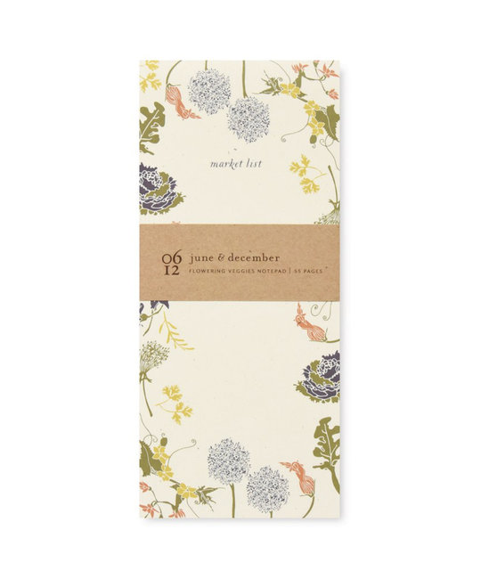 June and December - JD Flowering Veggies Market Notepad
