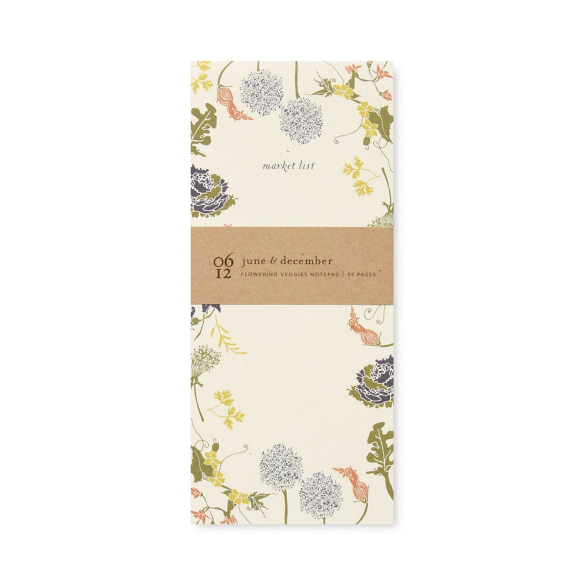 June and December - JD Flowering Veggies Market Notepad