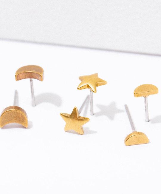 Larissa Loden Jewelry - LLJ Brass Moon Post Earring Set