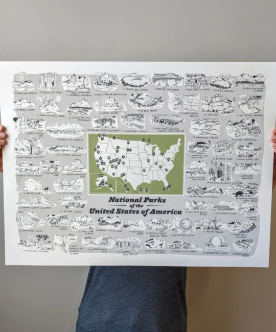 Brainstorm Print and Design - BS BS PRLA - National Parks Map, 18 x 24 inch Print