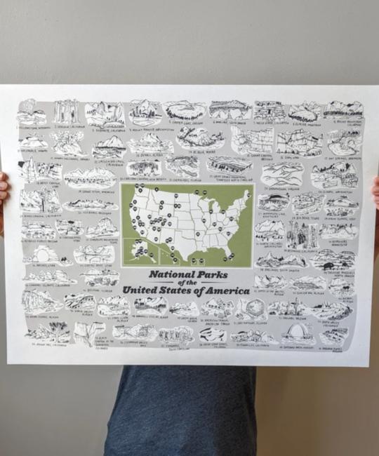 "Brainstorm Print and Design - BS BS PRLA - National Parks Map Print, 18"" x 24"""