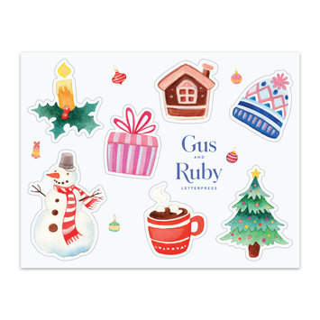 Gus and Ruby Letterpress - GR Gus & Ruby - Christmas  Sticker Sheet