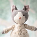 Hazel Village - HV HV BATO - Gracie Cat in clay overalls and ivory sweater