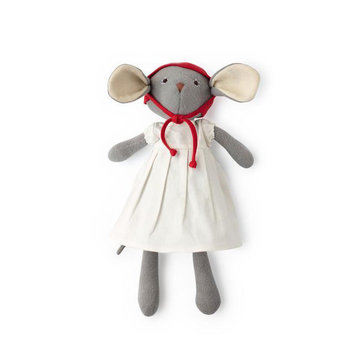 Hazel Village - HV Hazel Village- Catalina Mouse in white linen dress & red bonnet