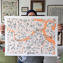 Brainstorm Print and Design - BS Brainstorm- Boston Map Print, 18 x 24 inch