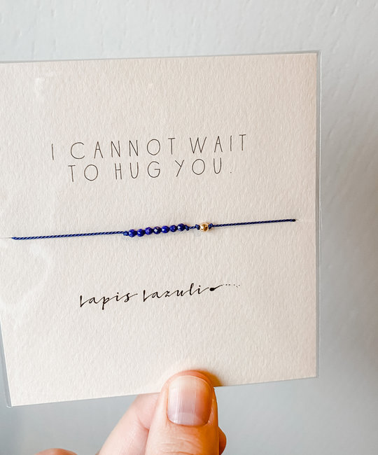 "Mai Lin Jewelry ""I Cannot Wait to Hug You"" Lapis, Silk Cord Bracelet"