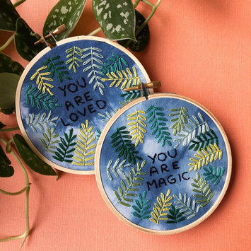 M Creative J Positive Plants: You Are Loved Embroidery Wall Art