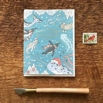 Noteworthy Paper and Press - NPP From Our Home to Yours Ocean Holiday Card