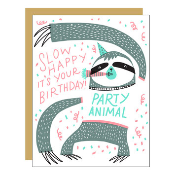 Hello!Lucky Slow Birthday Card (sloth)