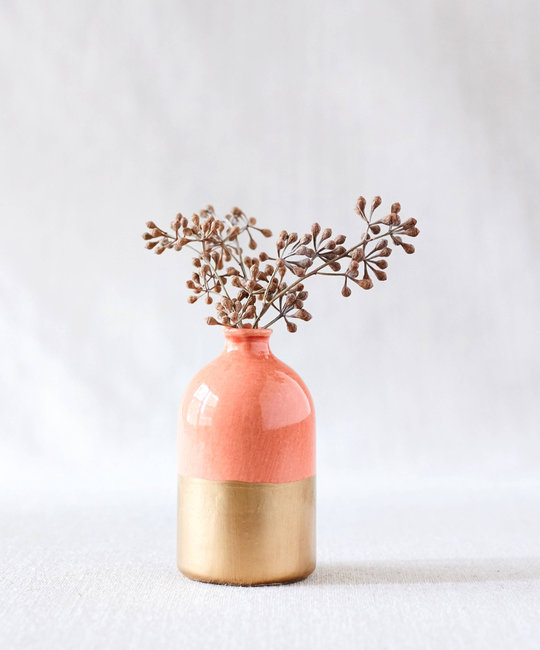 Honeycomb Studio Coral and gold leaf porcelain bud vase