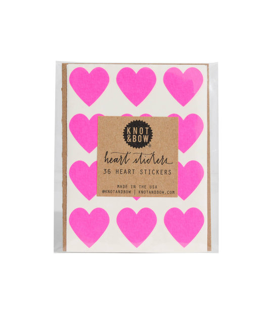 knot and bow 36 Neon Pink Heart Stickers