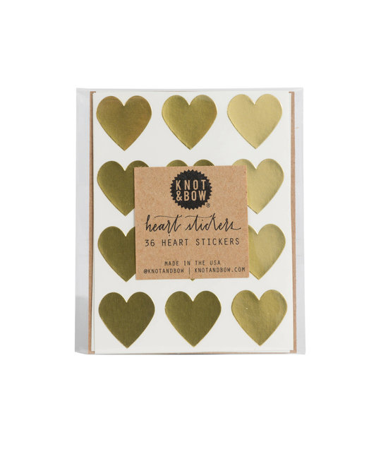 knot and bow 36 Gold Heart Stickers