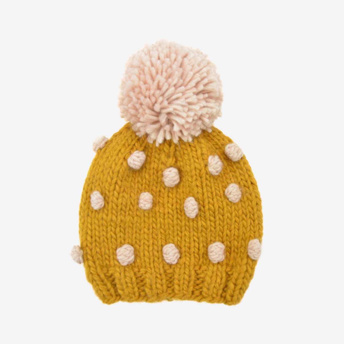 The Blueberry Hill - BH Mustard + Pink Popcorn Knit Hat, 12 - 24 mo (s)