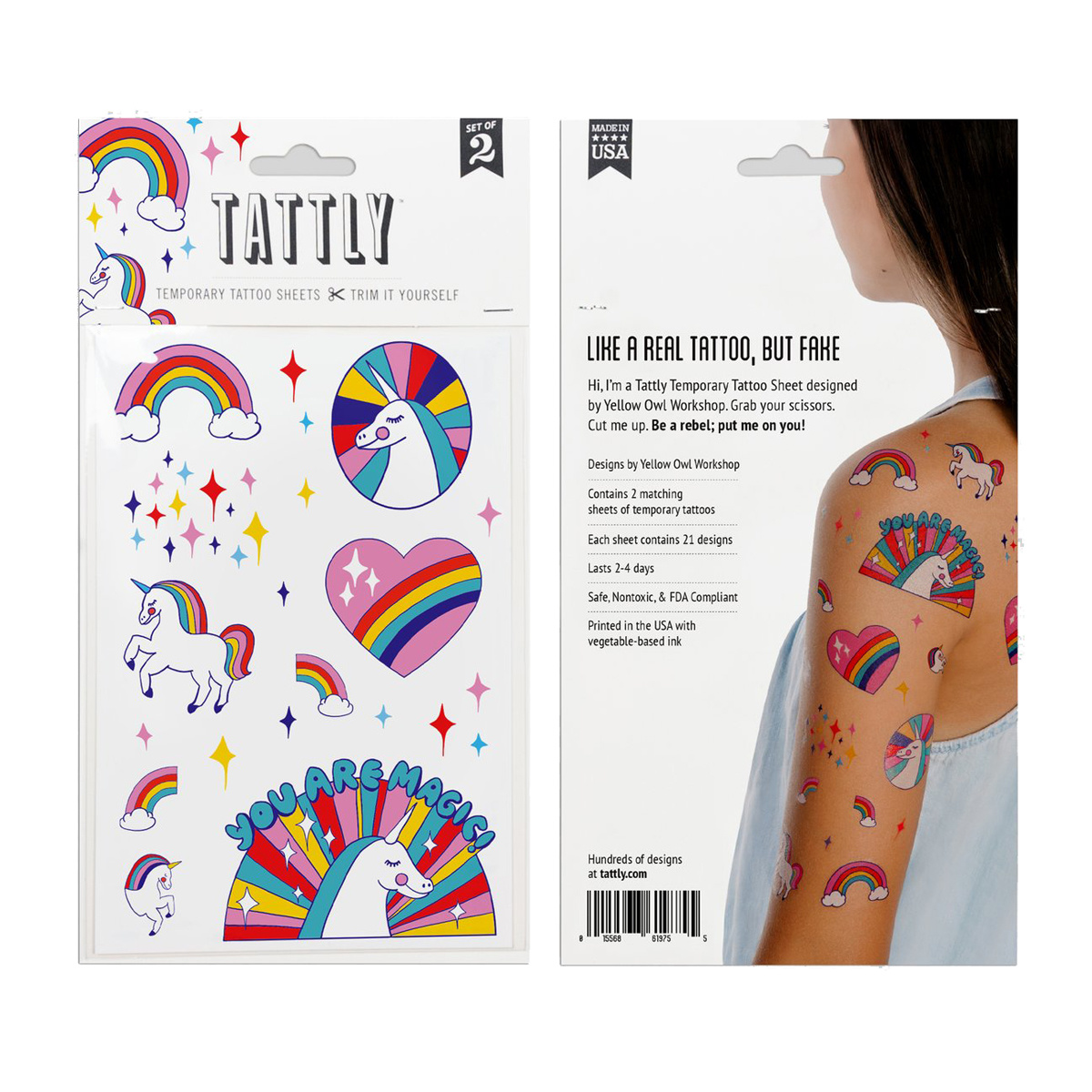 Tattly - TA Tattly Temporary Tattoos - Rainbow Unicorns Sheet (set of 2)