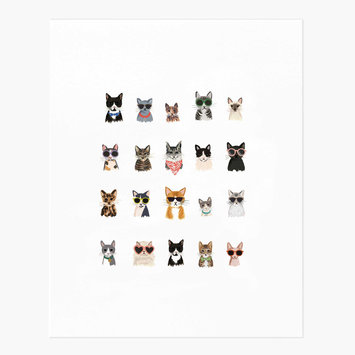 "Rifle Paper Co - RP Rifle Paper Co - Cool Cats Print, 8"" x 10"""