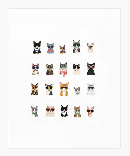 """Rifle Paper Co - RP Rifle Paper Co - Cool Cats Print, 8"""" x 10"""""""