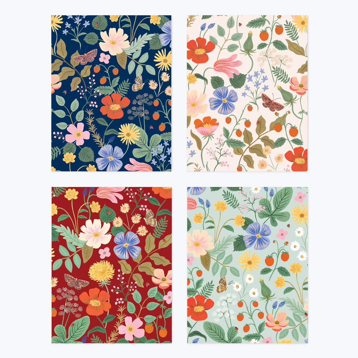 Rifle Paper Co - RP Rifle Paper Co - Strawberry Fields Notes, Set of 8