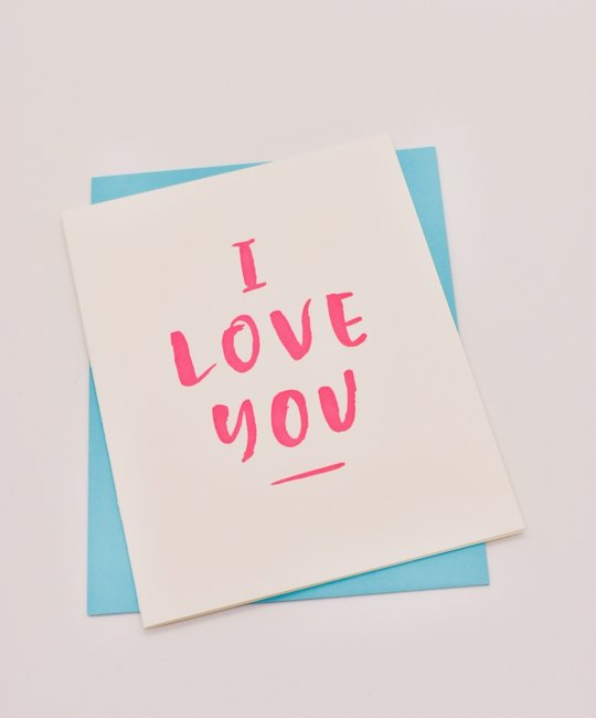 Gus and Ruby Letterpress - GR Gus & Ruby - I Love You (neon pink)