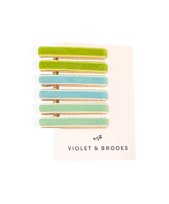 Violet & Brooks - VB Green Viola Velvet Hair Clips