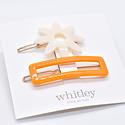 Whitley - WH WH ACHA - Cream Flower + Orange Rectangle Hair Clip Duo