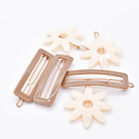 Whitley WH ACHA - Cream Flower + Taupe Rectangle Hair Clip Duo