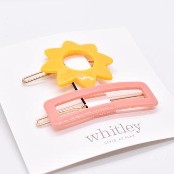Whitley yellow sun + rose rectangle hair clip duo