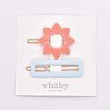 Whitley WH ACHA - Rose Sun + Blue Rectangle Hair Clip Duo