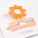 Whitley Orange Sun + Rose Rectangle Hair Clip Duo