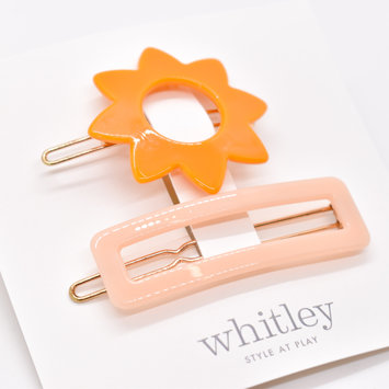 Whitley - WH Orange Sun + Rose Rectangle Hair Clip Duo