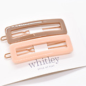 Whitley WH ACHA - Taupe + Blush Rectangle Hair Clip Duo
