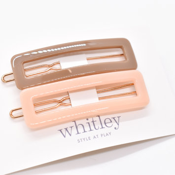 Whitley - WH WH ACHA - Taupe + Blush Rectangle Hair Clip Duo