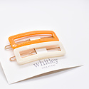 Whitley WH ACHA - Cream + Orange Rectangle Hair Clip Duo