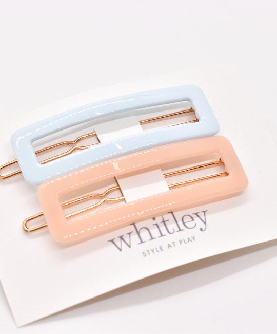 Whitley WH ACHA - Blue + Blush Rectangle Hair Clip Duo