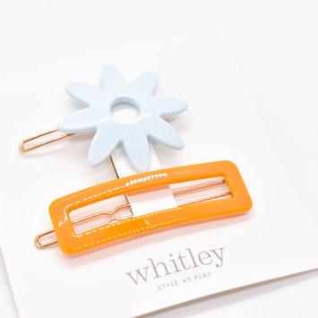 Whitley - WH WH ACHA - Blue Flower + Orange Rectangle Hair Clip Duo