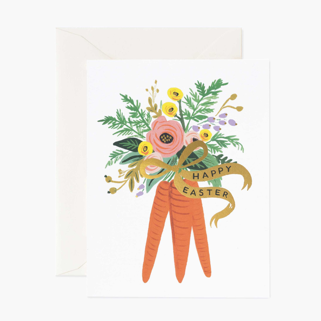 Rifle Paper Co - RP Rifle Paper Co - Carrot Bouquet Easter Card