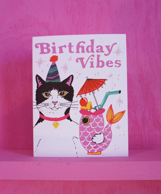 Ash + Chess - AAC Birthday Vibes Cat Card