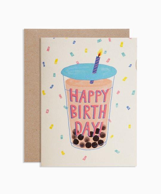 poketo Happy Birthday Boba Tea Card