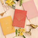 Designworks Ink Bright Terracotta Radiant Rays Suede Lined Notebook
