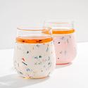 W&P Design - WP Terrazzo Cream Porter Glass Tumbler, 15oz